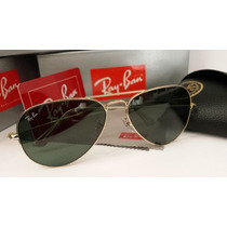 Óculos De Sol Aviador 3025 Dourado Lente Verde