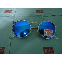 Óculos 3447 Jonh Lenon Dourado Azul Turqueza Espelhado