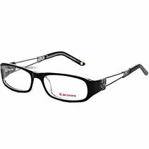 Óculos Feminino Carmim Grau Armação Preto Prata Dragão Novo