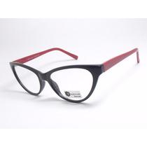 Armação De Óculos Feminino Gatinho Preto Vermelho Cr22 C2 Mj