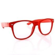 Óculos Estilo Wayfarer Vermelho Lentes Transparentes