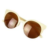 Oculos Escuros De Sol Vintage Cat Eye Bege Retro