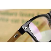 Armação Óculos Retrô Wayfarer Com Hastes Em Bambo & Madeira