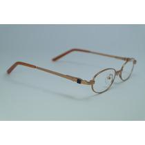 Armação Óculos Grau Dourado Infantil Em Metal E Acetato Mj