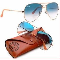 Oculos Rb Aviador Marrom Ou Azul 3025/3026 Lente De Cristal