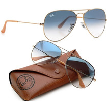 Ray Ban Rayban Rb Aviador Azul Degradê Cristal + Case Marrom