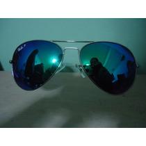Óculos Aviador 3025 Prata Verde Espelhado Policarbonato