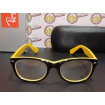 Armação Oculos Grau Rb5228 Wayfarer Amarelo Preto Rayban
