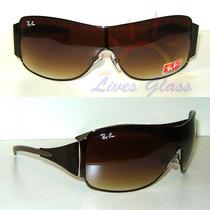 Óculos De Sol 3321 Máscara Marrom Lente Marrom Degradê