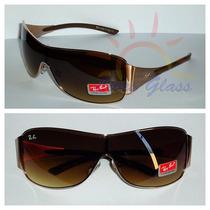 Óculos De Sol 3321 Máscara Dourado Lente Marrom Degradê