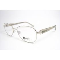 Armação Óculos Feminino Prata Arredondado 11-511 Mj
