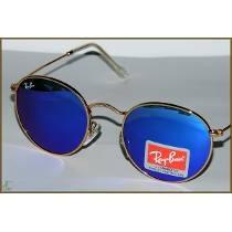 Kit 3 Ray-ban 3447 John Lennon Dourado, Lente Azul Degradê