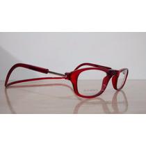 Armação Óculos Click Ima P/ Colocar Grau Magnético Vermelho