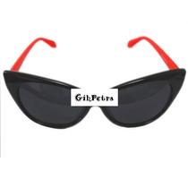 Óculos De Sol Feminino Importado Preto E Vermelho Retro Cat