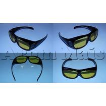 Óculos Visão Noturna Lente Amarela 400 Uv Polarizado