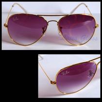 Óculos De Sol 3025, Armação Dourada Lentes Roxas Degradê