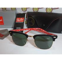 Oculos De Sol Rb3016 Clubmaster Preto E Vermelho Ray Ban