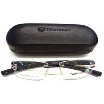 Armação Oculos De Grau Tag Heuer Th 3357 Preta C/prata