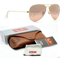 Ray Ban Aviador 3025 Rosa Clear Cristal + Case Marrom