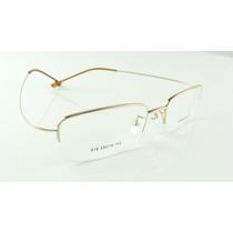 Armação Dourada Óculos Grau Titanium Grande Multifocal A744