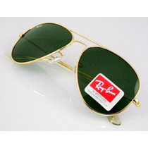 Óculos Aviador Rb3025 Rb3026 Lente Verde Frete Grártis