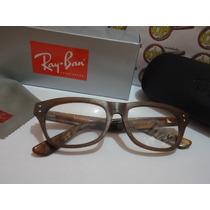 Armação Oculos Grau Rb5134 Wayfarer Estilo Madeira Rayban