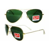 Ray-ban Ray Dourado Lente Verde Aviador Rayban 3025-3026