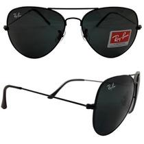 Oculos Rayban / Ray Ban Aviador Original Prata Azul Degrade