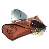 Óculos Ray Ban Aviador 3025 Dourado Com Lentes Azul Degradê