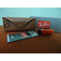 Kit Para Oculos Ray Ban Original De Couro Marrom Completo