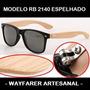 Óculos Wayfarer Modelo Rb2140 Hastes De Bambu Espelhado