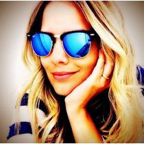 Óculos Clubmaster 3016 Preto Lentes Azul Escuro Espelhado