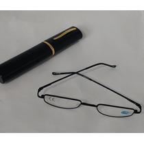 Armação Preta Oculos Grau +2,5 Leitura C/estojo Caneta