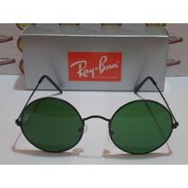 Oculos Sol Redondo Jon Lenon Preto Rayban Rb3447 Lente Fumê