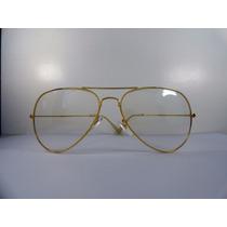 Óculos De Sol Rayban Aviador 3025 Dourado Lente Transparente