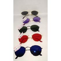 Jogo C/10 Oculos Sol Lentes Redondas Todas As Cores Unissex
