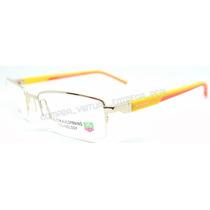 Armação Óculos Lentes Grau Tag Heuer Amarelo Laranja Dourado