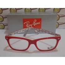 Armação Oculos Grau Rb5228 Wayfarer Vermelho Branco Ray-ban