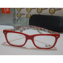 Armação Oculos Grau Rb5228 Vermelho E Branco Subway Ray-ban