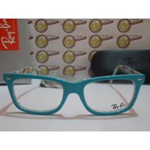 Armação Oculos Grau Rb5228 Wayfarer Azul Branco Metrô Rayban
