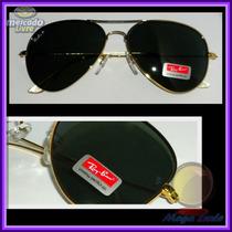 Óculos Aviador Aviator 3026 G Dourado Lentes Polarizadas