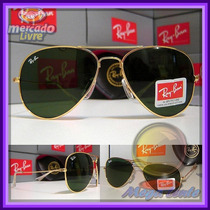 Óculos Aviador Aviator 3026 G Dourado Lentes Escuras