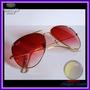 Óculos Aviador Aviator 3025 Dourado Lente Vermelha Degradê