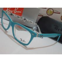 Armação Oculos De Grau Rb5228 Azul Bebê Branco Faces Ray-ban