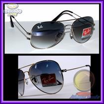 Óculos 3026 Prata Aviador Aviator Prata Lente Azul Degradê