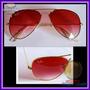 Óculos Aviador Aviator 3025 Dourado Lente Rosa Degradê