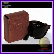 Óculos 4105 Wayfarer Dobrável Tartaruga Lentes Escuras