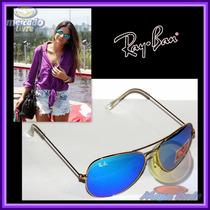 Óculos Aviador 3026 G Dourado Lente Azul Ice Bebê Espelhada