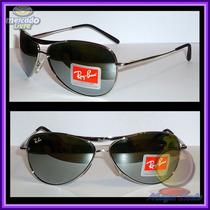 Óculos 8015 Aviador Aviator Prata Lentes Espelhadas
