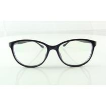 Armação Oculos De Grau Preta Redonda Com Lentes Chic - A751